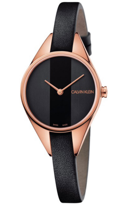 Calvin Klein Womens Rebel Uhr schwarzes Lederarmband mit Roségold-Ton K8P236C1