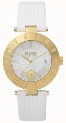 Versus Versace Womens Logo weißes Zifferblatt weißes Lederarmband SP77210018