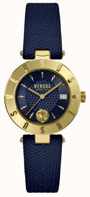 Versus Versace Damenlogo blaues Zifferblatt blaues Lederarmband SP77220018