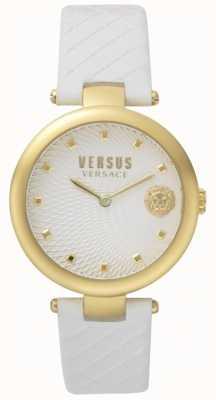 Versus Versace Weißes Lederarmband mit weißem Zifferblatt SP87020018