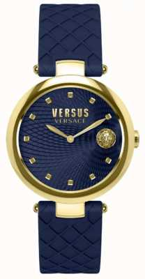 Versus Versace Damen Büffelleder blaues Zifferblatt blaues Lederarmband SP87030018