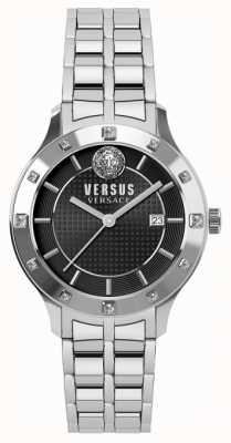 Versus Versace Brackenfell Damenarmband mit schwarzem Zifferblatt aus Edelstahl SP46010018
