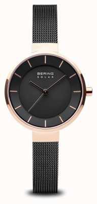 Bering Solar, Sunray-Zifferblatt für Damen, roségoldfarbenes Gehäuse, schwarzes Mesh-Armband 14631-166