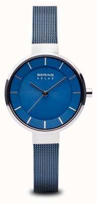 Bering Damen Solar, Sunray Zifferblatt, Silbergehäuse, blaues Mesh-Armband 14631-307
