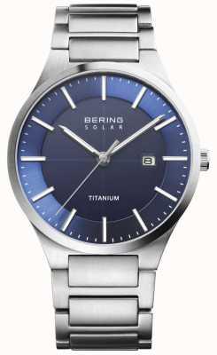 Bering Solarblauer silberner Titanarmband für Herren 15239-777