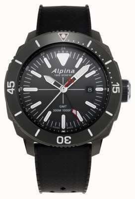 Alpina Mens strong Taucher gmt schwarz Kautschukband AL-247LGG4TV6