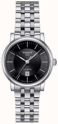 Tissot Womens Carson Automatik Edelstahl schwarzes Zifferblatt T1222071105100