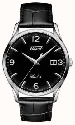 Tissot Mens Visodate Heritage Quarz schwarz Leder schwarzes Zifferblatt T1184101605700