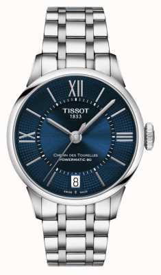Tissot Chemin des tourelles powermatic 80 Edelstahl blaues Zifferblatt T0992071104800