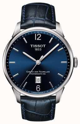 Tissot Chemin des Tourelles Herren blau Lederarmband blaues Zifferblatt T0994071604700