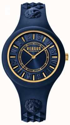 Versus Versace Blaues Silikonarmband der Feuerinsel blaues Zifferblatt SOQ090016