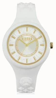 Versus Versace Feuer-Insel weißes Silikon Stap weißes Zifferblatt SOQ040015