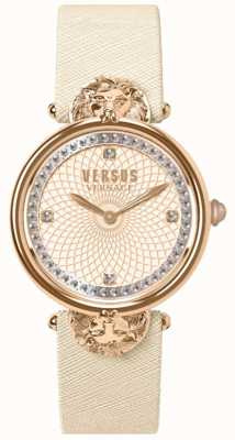 Versus Versace Victoria Harbour Creme Lederarmband für Damen mit rosafarbenem Zifferblatt VSP33130018