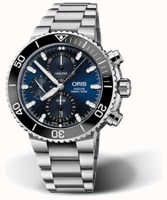 ORIS Aquis Datum Chronograph blaues Zifferblatt Edelstahl 01 774 7743 4155-07 8 24 05 PEB