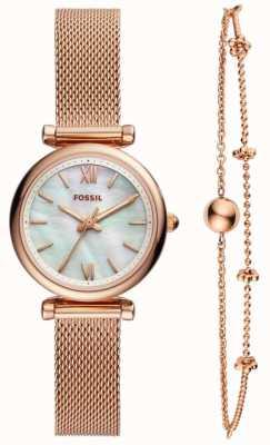 Fossil Damen Carlie Uhr Geschenkset ES4443SET