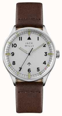 Jack Wills Herren Camperdown Silber Zifferblatt braun Lederband JW001BRSS