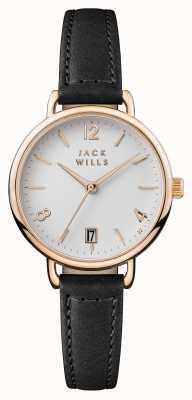 Jack Wills Womens Onslow weißes Zifferblatt schwarzes Lederarmband JW006BKRS