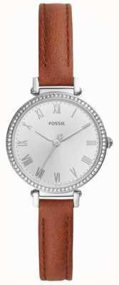 Fossil Damenuhr aus braunem Leder mit weißem Zifferblatt aus Edelstahl ES4446