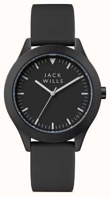 Jack Wills Herrenuhr schwarz schwarzes Silikonarmband JW009BKBK