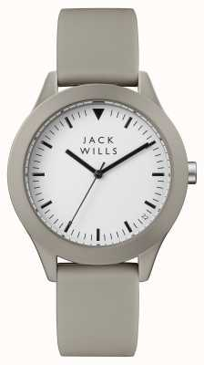 Jack Wills Mens Union weißes Zifferblatt grau Silikonband JW009WHGY