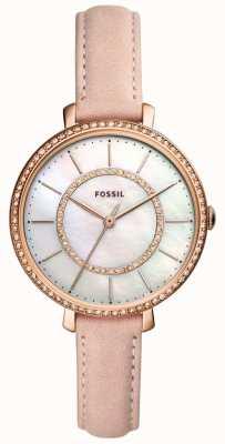 Fossil Beige Damen Lederarmband Edelstahl Perlmutt ES4455