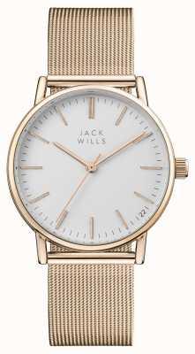 Jack Wills Beere weißes Zifferblatt Roségold PVD-Mesh-Armband JW013RSRS
