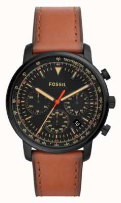 Fossil Herrenchronograph braunes Leder Edelstahl schwarzes Zifferblatt FS5501