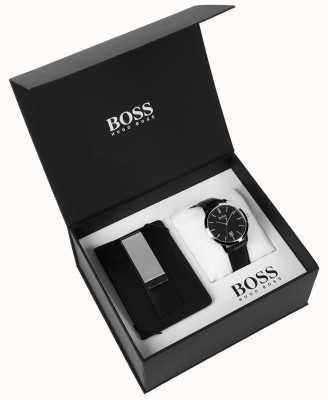 Hugo Boss Mens Box Set Geldscheinklammer Classic schwarzes Zifferblatt aus schwarzem Leder 1570065