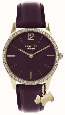 Radley Damenuhr lila Lederband Goldgehäuse RY2708