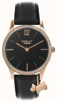 Radley Damen schwarze Satinuhr RY2704