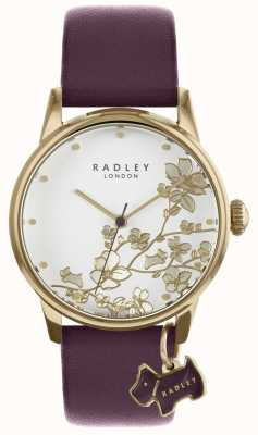 Radley Damenuhr lila floral Lederarmband RY2688