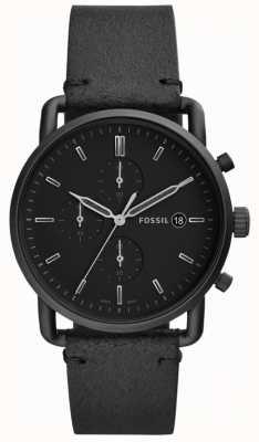 Fossil Mens schwarzes Leder FS5504