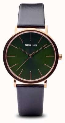 Bering Classic   schwarzes Armband aus poliertem Roségold 13436-469