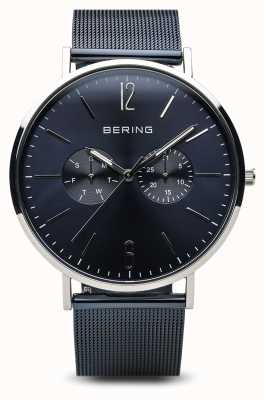 Bering Classic | poliertes silber | Tag Datum blau 14240-303
