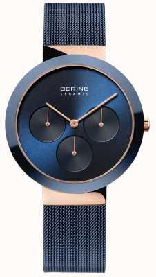 Bering Keramik | poliertes Roségoldgehäuse | blaues Zifferblatt 35036-367
