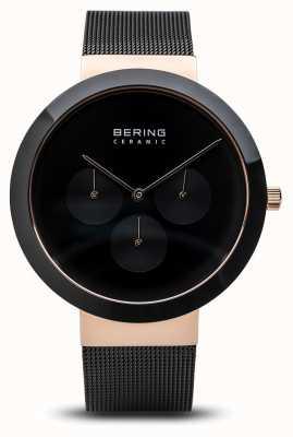 Bering Keramik | poliertes Roségoldgehäuse | schwarzes Zifferblatt 35040-166