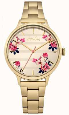 Joules Womens Flora Gold PVD überzogenes Armband floral Zifferblatt JSL002GM