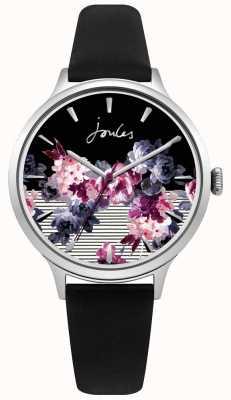 Damen Joules schwarzes Lederarmband mehrfarbiges lila Zifferblatt JSL002B