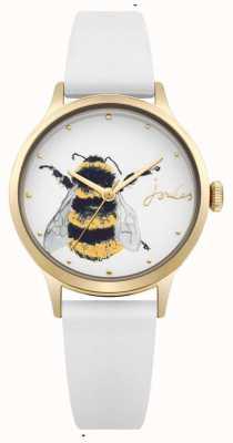 Joules Weißes Damen Silikonarmband aus weißem Zifferblatt mit Biene JSL010WRG