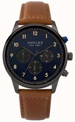 Joules Braunes Lederarmband mit blauem Chronographenzifferblatt JSG007TB