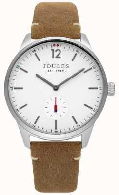 Joules Herren Tan Lederband mattes weißes Zifferblatt JSG005T