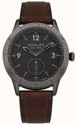 Joules Ryley braunes Lederarmband mit schwarzem Zifferblatt JSG006BRB