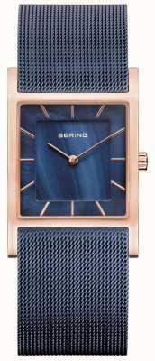 Bering Blaues Mesh-Armband, blaues Perlmuttzifferblatt 10426-367-S
