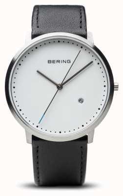 Bering Unisex weißes Zifferblatt schwarzes Lederarmband 11139-404