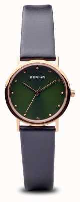 Bering Klassisch | poliertes roségold schwarzes Armband grünes Zifferblatt 13426-469