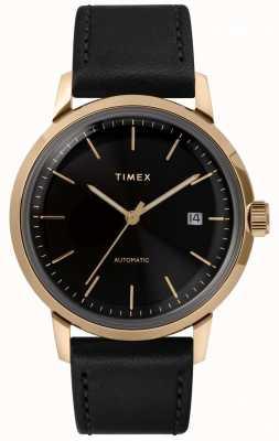 Timex Automatisches schwarzes Lederarmband mit schwarzem Zifferblatt TW2T22800