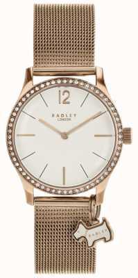 Radley Millbank Hund Charm Rose Gold Mesh Armband Uhr RY4286