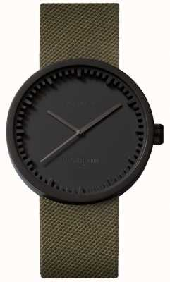 Leff Amsterdam Tube Watch d38 Cordura mattschwarzes Gehäuse grünes Armband LT71014