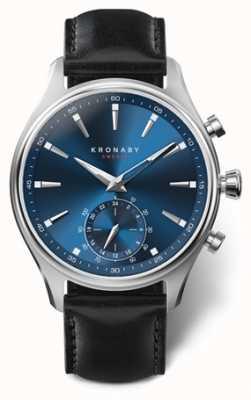 Kronaby Mens sekel 41 | edelstahl | blaues Zifferblatt | schwarzes Leder A1000-3758