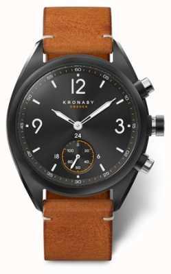 Kronaby Mens Apex 41 Bluetooth schwarzes Zifferblatt, braunes Leder A1000-3116